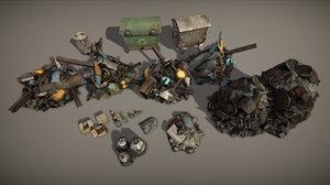 garbage piles heap 3D