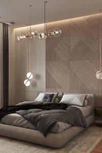 modern bedroom design scene 3D model
