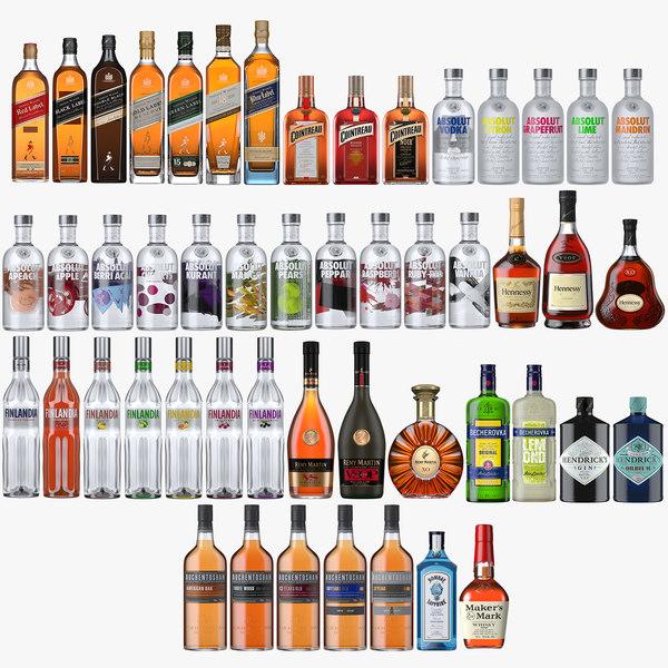 3D model 50 spirits bottles