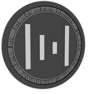 3D metal black coin model