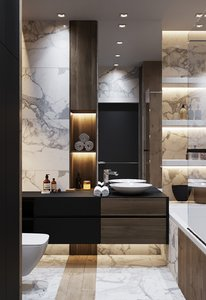 3D bathroom interior scene corona