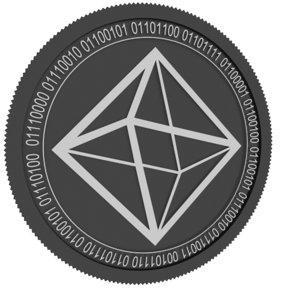 3D model mexc token black coin
