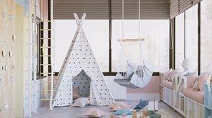 playroom interior scene corona 3D model
