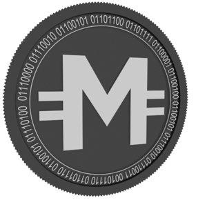 3D moss coin black model