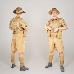 3D australian infantryman character pose