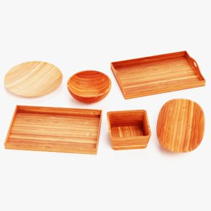 bamboo tableware plate bowls model