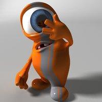 3D cute orange monster