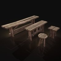 Village Benches and Stools Pack Lowpoly