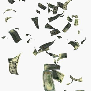 3D rain dollars money model