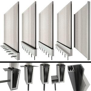 glass railing handrails 3D