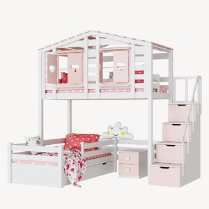 3D model children s 2-level bed