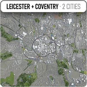 leicester - coventry surrounding 3D model