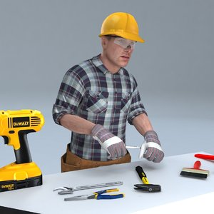 rigged handyman man 3D