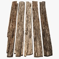 3D model weathered old wood planks