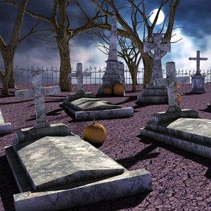 3D model cemetery gravestone