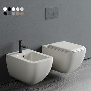 shui comfort wall-hung toilet 3D