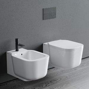 cubika toilet wall-hung bidet 3D