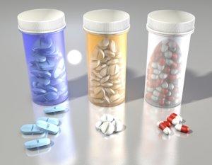 bottle pill medical medicine 3D model