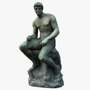 bronze man sitting 3D model