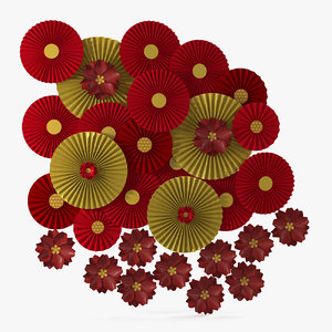 red gold paper rosettes 3D model