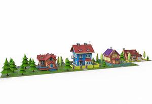 low-poly cartoon village 3D model