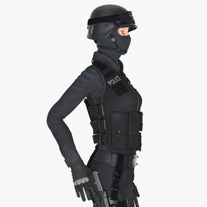 swat woman european rigged 3D model