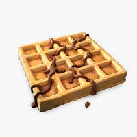 3D stylized waffle chocolate