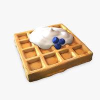3D model stylized waffle cream