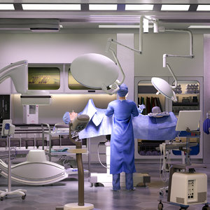 3D surgery room pro surgeon model