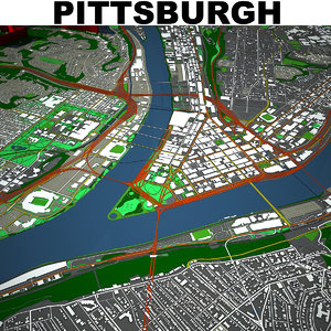 3D pittsburgh cityscape