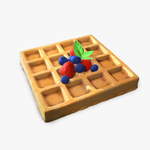 3D stylized waffle berries