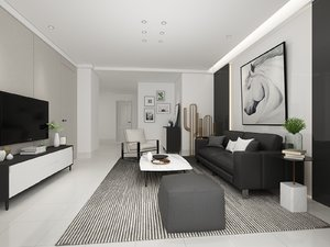 3D model nordic living room 4300x3800