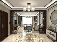 Living Room Merged with Dining Room in Chinese Style