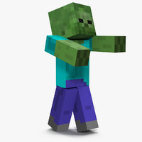 3D minecraft zombie rigged model