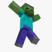 3D model minecraft zombie rigged