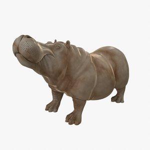 marble sculpture hippo 3D