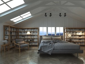 mansard attic bedroom 3D model