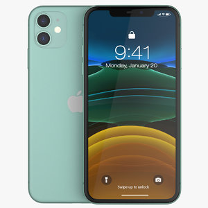 3D model iphone 11 green phones
