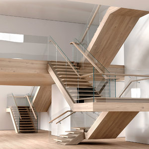 stairs wooden 3D