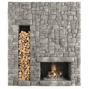 3D fireplace stone