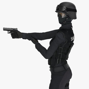 swat woman asian rigged 3D
