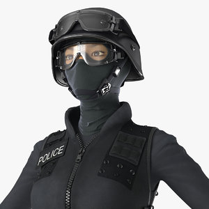 3D swat woman asian rigged
