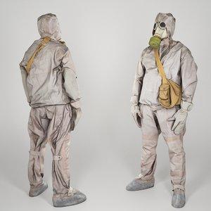 liquidator nuclear chernobyl 3D model