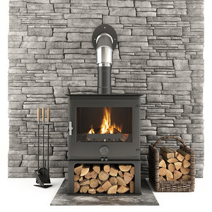 3D fireplace accessories stone model