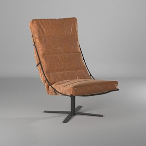 3D leather brutus fauteuil chair designer model