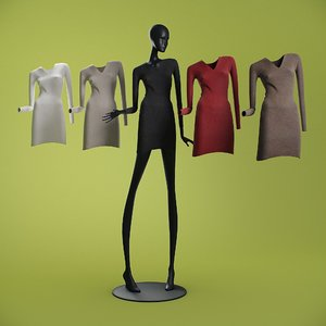long dresses mannequin 3D
