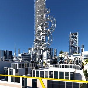 3D future futuristic buildings
