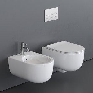 3D toilet milady wall-hung bidet