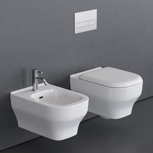 toilet synthesis wall-hung bidet 3D