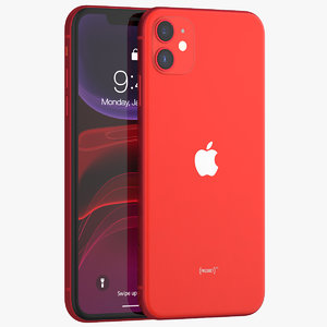 3D iphone 11 red phones